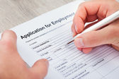 Hand Filling Application For Employment — Stock Photo