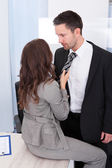 Couple Flirting In Office — Stock Photo