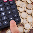 Finger Pressing Calculator Button — Stock Photo #37034083
