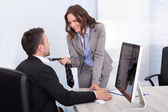 Business Couple Flirting In Office — Stock Photo