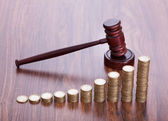 Wooden Gavel With Coins — Stock Photo