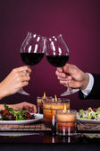 Couple Tossing Wine Glass — Stock Photo