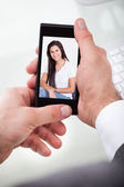 Man Having A Videochat With Woman — Stock Photo