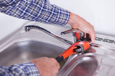 Plumber Fixing Washbasin — Stock Photo
