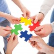 Stock Photo: Five People Hand With Puzzle