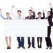 Businesspeople Raising Hand With Board — Stock Photo