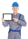 Architect Showing Digital Tablet — Stock Photo