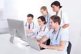 Medical Doctors Group At Hospital — Stock Photo