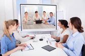 Businesspeople Attending Video Conference — Stock Photo