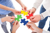 Five People Hand With Puzzle — Stok fotoğraf