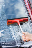 Hand Washing Car Window With Mop — Foto Stock