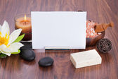 Blank Paper Surrounded With Spa Products — Stock Photo