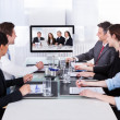 Businesspeople In Video Conference At Business Meeting — Stock Photo #39410533