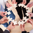 Business People Holding Jigsaw Puzzle — Photo