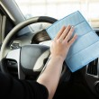 Person Cleaning Steering Wheel In Car — Stock Photo