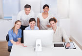 Group Of Businesspeople Working On Computer — Stock Photo
