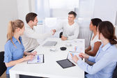 Businesspeople Shaking Hands In A Meeting — Stock Photo