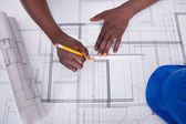 Draftsman Drawing Blueprint — Stock Photo