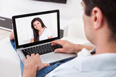 Man Having A Videochat With His Girlfriend — Stock Photo