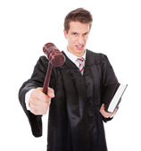 Frustrated Judge With Gavel And Book — Stock Photo