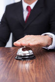 Close-up Of Hand Ringing Service Bell — Stock Photo