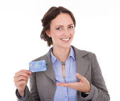 Businesswoman Holding Credit Card — Stock Photo