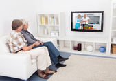 Senior Couple Watching Television — Stock Photo