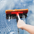 Hand With Mop On Car — Stock Photo