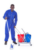 Cleaner Cleaning With Mop — Stockfoto