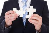 Kaufmann problemlösung jigsaw puzzle — Stockfoto