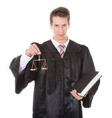 Judge With Scales And Book — Stock Photo