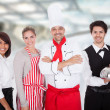 Stock Photo: Chef and waiters