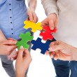 People Hands With Puzzle — Stock Photo