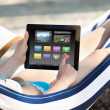 Woman Using Digital Tablet In Hammock — Stock Photo