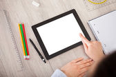 Person With Digital Tablet And Student Accessories — Stock Photo