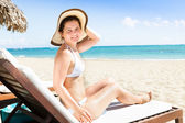 Woman In Bikini Relaxing On Deck Chair — Foto Stock