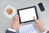 Businessperson With Digital Tablet And Calendar — Stock Photo