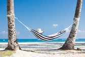 Woman In Hammock At Beach — Stock Photo