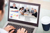 Businesswoman Video Conferencing With Laptop — Stock Photo