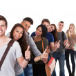 College Students Gesturing Thumbs Up In A Line — Stock Photo #43206771