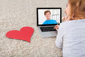 Woman Video Chatting On Laptop — Stock Photo