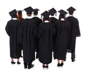 Large group of students graduating — Stock Photo