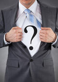 Businessman With Question Mark Sign — Stock Photo