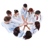 Doctors and nurses stacking hands — Stock Photo