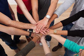 Multiethnic College Students Stacking Hands — Stock Photo