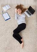Young Woman Lying On Carpet — Stock Photo