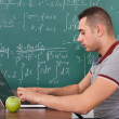 Student Solving Math's Problem On Laptop — Stock Photo