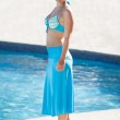 Happy Woman Standing At Poolside — Stock Photo