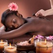 Woman Getting Lastone Therapy At Spa — Stock Photo