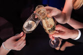 Friends Toasting Champagne At Nightclub — Foto de Stock